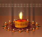 Happy diwali illuminating colorful set diya background — Stock Vector
