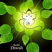 Beautiful artistic bright green lives colorful Hindu Lord Ganesh — Stock Vector