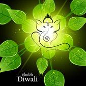 Beautiful artistic bright green lives colorful Hindu Lord Ganesh — Stock Vector