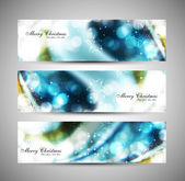 Merry christmas celebration blue header set vector — Stock Vector