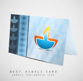 Happy diwali diya greeting card fantastic colorful vector design — Stock Vector