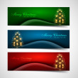 Merry christmas tree celebration colorful header set vector — Stock Vector