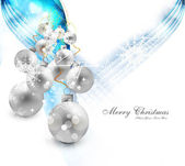 Merry christmas background with shiny colorful balls design vect — Stock Vector