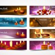 Stock Vector: Happy diwali stylish bright colorful set of headers collection d