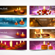 Happy diwali stylish bright colorful set of headers collection d — Stock Vector