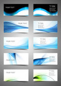 Abstract Various Business Card set collection wave design vector — Stock Vector