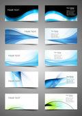 Resumen varias tarjetas set colección diseño vector de onda — Vector de stock