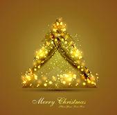 メリー クリスマス ツリーはカラフルな背景の輝きが点在 — ストックベクタ