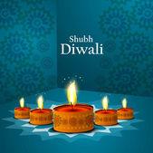 Happy diwali beautiful illuminating Diya blue colorful vector de — Stock Vector