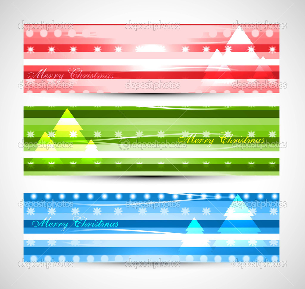 Christmas tree colorful header set design vector stock illustration