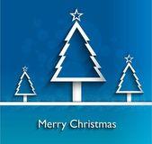Einfache frohe weihnachtsbaum blau bunt neujahrs karte tergru — Stockvektor