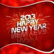 Happy new year 2013 red colorful celebration circle wave vector — Stock Vector