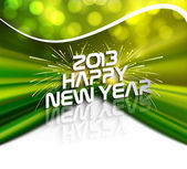Happy new year 2013 green colorful celebration circle wave desig — Stock Vector