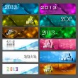 New year 2013 stylish bright colorful set of headers collection  — Stock Vector