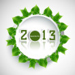 Stock Vector: New year 2013 reflection green lives circle colorful whit backgr