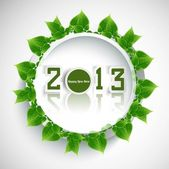 New year 2013 reflection green lives circle colorful whit backgr — Stock Vector
