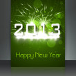 2013 new year green celebration colorful gift card background il - Stock Vector