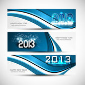 New year blue colorful header and banner wave set vector — Stock Vector
