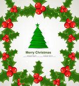 Holly berry merry christmas tree vector design — Stock Vector