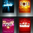 2013 new year celebration brochure four collection colorful card - Stock Vector