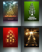 Merry christmas tree brochure four collection colorful card refl — Stock Vector