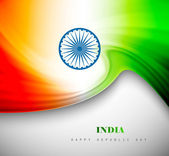 Indian flag background with creative wave colorful design — Stock Vector