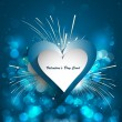 Abstract Valentines Day blue colorful  background with heart cel — 图库矢量图片