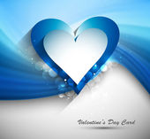 Heart Valentines day card with blue wave background vector — Stock Vector