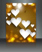 Güzel broşür renkli yansıma kalpler düğün kartı vecto — Stok Vektör