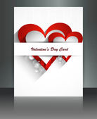 Valentine Days heart white brochure fantastic card design — Stock Vector