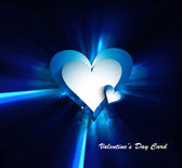 Valentines day blue bright colorful shiny rays heart vector illu — Stock Vector