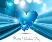 Blaue valentinstag herz auf welle fantastische liebe hintergrund — Stockvektor