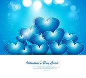 Blu san valentino cuori amore creativo sfondo illustrazione — Vettoriale Stock