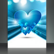 Valentine Days blue heart brochure fantastic card design — Stock Vector