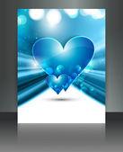 валентина дней голубое сердце фантастические карты дизайн брошюры — Cтоковый вектор
