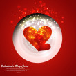 Stock Vector: Heart Valentines Day red background fantastic card design vector