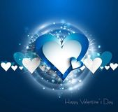 Vetor de azul brilhante colorido coração dia dos namorados — Vetorial Stock