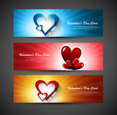 Valentines day bright colorful greeting card colorful header vec — Stock Vector