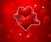 Valentines day red hearts vector fantastic background — Stock Vector