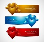 Valentines day bright colorful header whit background vector — Stock Vector
