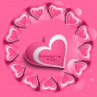Stock Vector: Pink Valentines day hearts circle love card vector