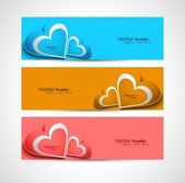 Valentines day colorful greeting card three header vector — Stock Vector