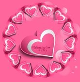 Pink Valentines day hearts circle love card vector — Stock Vector