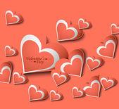 Adore carte saint valentin coeurs fond coloré — Vecteur