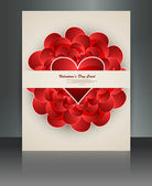 Celebration brochure valentines day card reflection vector — Stock Vector