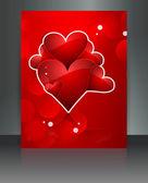 Beautiful Valentine's Day red brochure reflection card design — Stockvektor