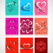 Beautiful Valentine's Day hearts brochure collection card design — Stock Vector