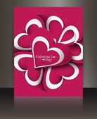 Beautiful Valentine's Day brochure reflection card — Stock Vector