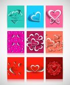 Beautiful Valentine's Day hearts brochure collection card design — Vetorial Stock