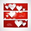 Beautiful Valentine's Day red colorful three header vector desig - Stock Vector